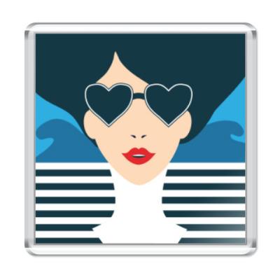 Магнит Француженка, фэшн иллюстрация, поп арт