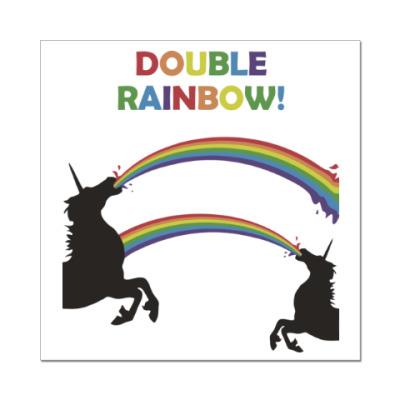 Наклейка (стикер) Двойная радуга