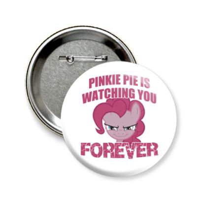 Значок 58мм Пинки Пай наблюдает за тобой