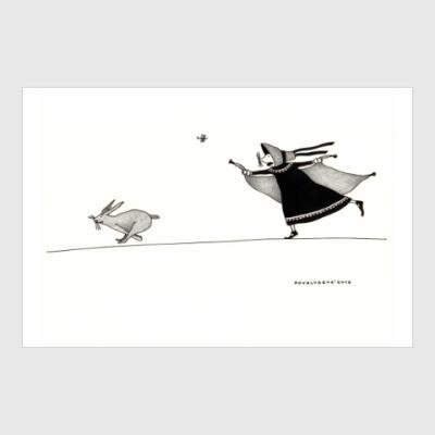 Постер Charlotte Bronte and a rabbit