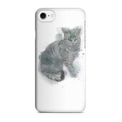 Чехол для iPhone 7/8 Серый сердитый кот