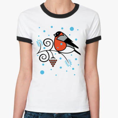 Женская футболка Ringer-T Снегирь