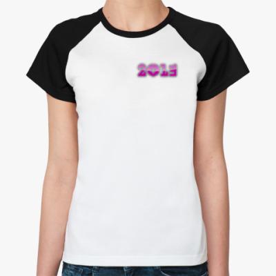 Женская футболка реглан розовая надпись 2013