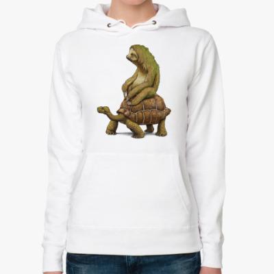 Женская толстовка худи Ленивец на черепахе