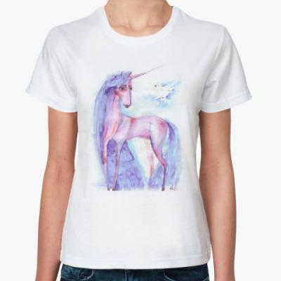 Классическая футболка Розовый единорог
