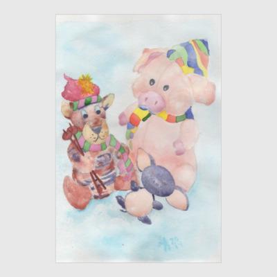 Постер Детские игрушки. Натюрморт.