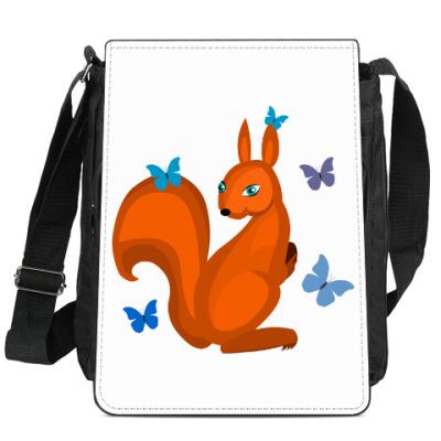 Сумка-планшет Белочка и бабочки