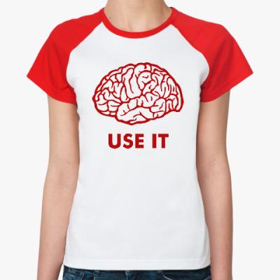 Женская футболка реглан Мозг