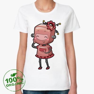 Женская футболка из органик-хлопка Робот девушка