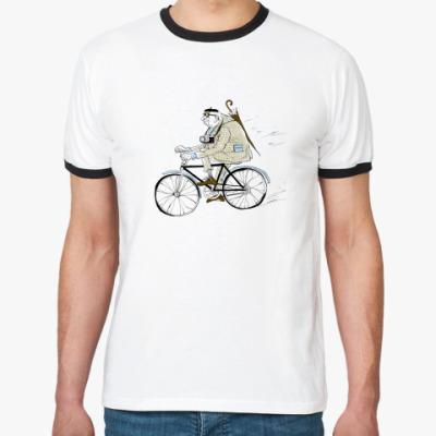 Футболка Ringer-T старичок на велосипеде