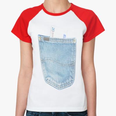 Женская футболка реглан Джинсовый карман