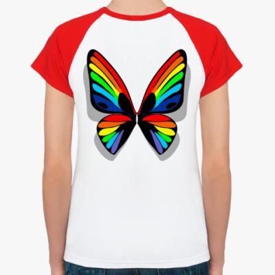 Женская футболка реглан Радужные крылья