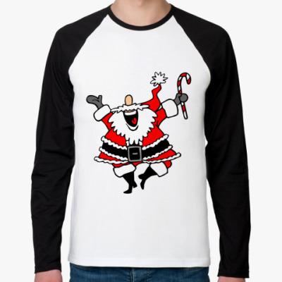 Футболка реглан с длинным рукавом Санта Клаус