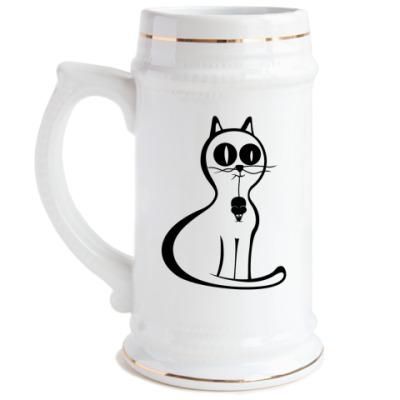 Пивная кружка Кот и мышь