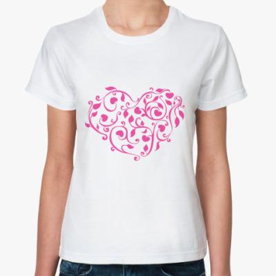 Классическая футболка Розовое сердце