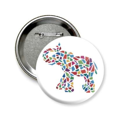 Значок 58мм Слон - мозаика