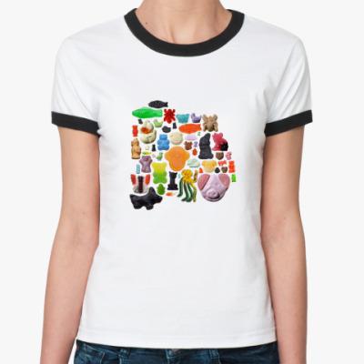Женская футболка Ringer-T 'Цветные конфеты'