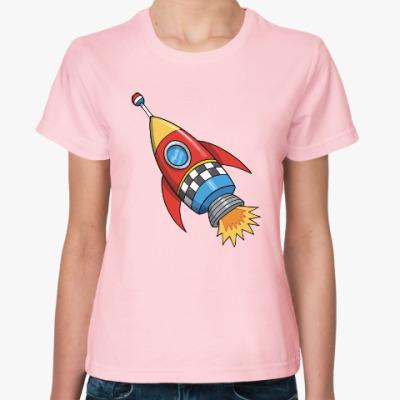 Женская футболка Космос. Ракета. Котэ. Звезды.