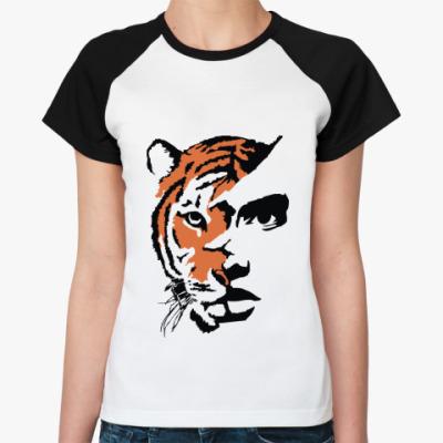Женская футболка реглан Тигр рыжий