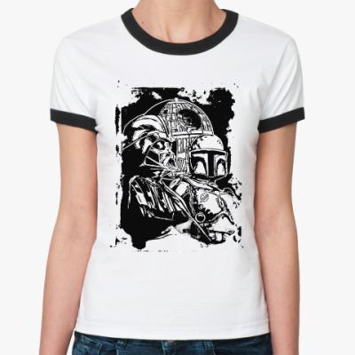 Женская футболка Ringer-T Дарт Вейдер и Боба Фетт