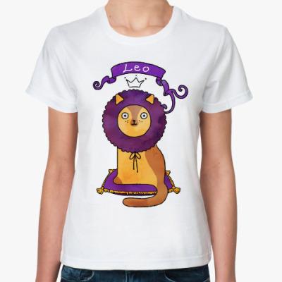Классическая футболка Кот Гороскоп - Знак Зодиака Лев (Leo)
