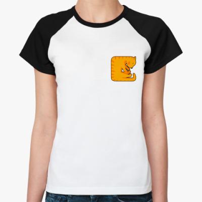 Женская футболка реглан Квадратный кот