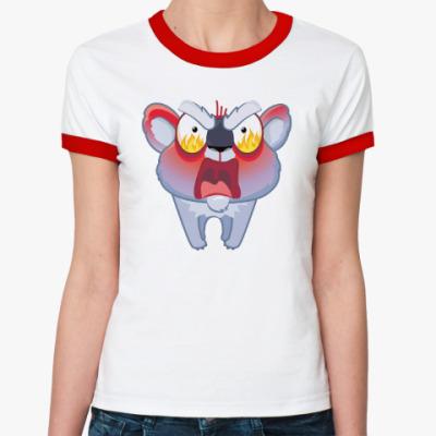 Женская футболка Ringer-T Энгри Коала