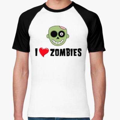 Футболка реглан I love zombies
