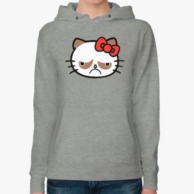 Женская толстовка худи Hello Grumpy Cat