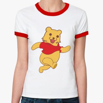 Женская футболка Ringer-T   Винни-Пух?