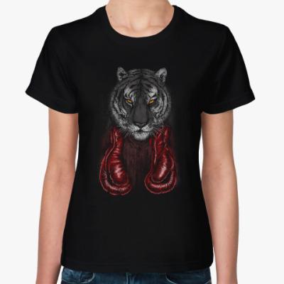 Женская футболка Тигр Боксер