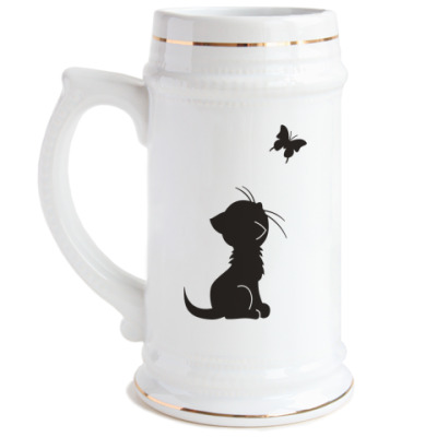 Пивная кружка Котенок и бабочка