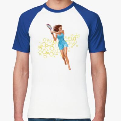 Футболка реглан Девушка с теннисной ракеткой