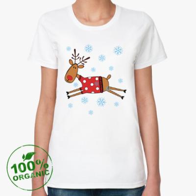 Женская футболка из органик-хлопка Новогодний олень в свитере