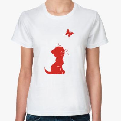 Классическая футболка Котенок и бабочка