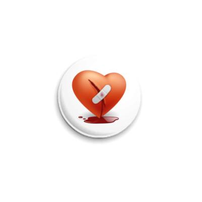 Значок 25мм  Раненное сердце
