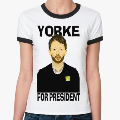Женская футболка Ringer-T Yorke  Ж (бел/чёрн)