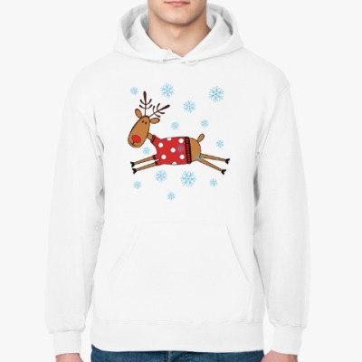 Толстовка худи Новогодний олень в свитере