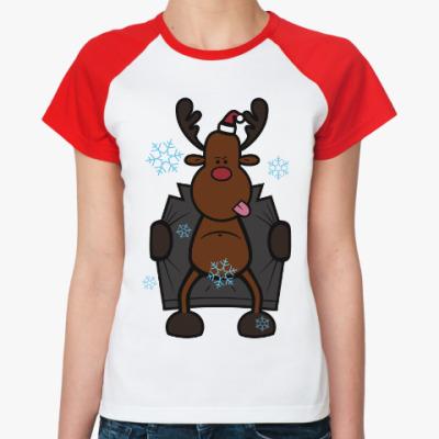Женская футболка реглан Олень в плаще