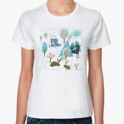 Классическая футболка 'Волк зимой...'