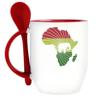 Кружка с ложкой Африканский слон