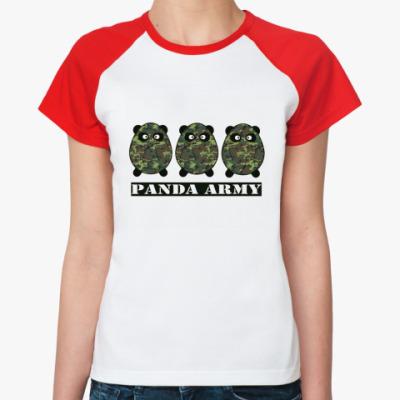 Женская футболка реглан Panda Army  Ж.(/красн)