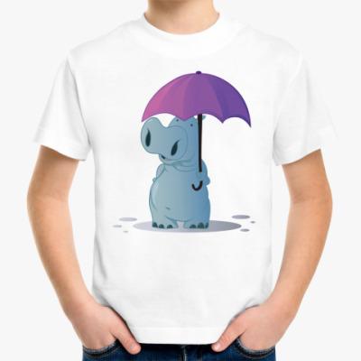 Детская футболка бегемотик с зонтом