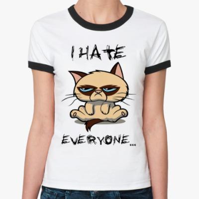 Женская футболка Ringer-T Недовольный кот ( Grumpy cat )