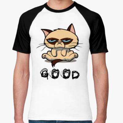 Футболка реглан Недовольный кот ( Grumpy cat )