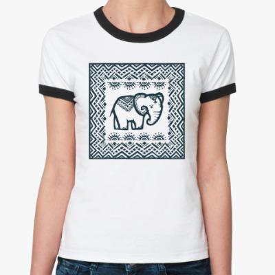 Женская футболка Ringer-T Этно-слоник