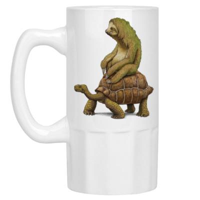 Пивная кружка Ленивец на черепахе