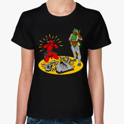 Женская футболка Дэдпул и Боба Фетт