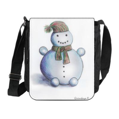 Сумка на плечо (мини-планшет) 'Снеговик в шарфе'