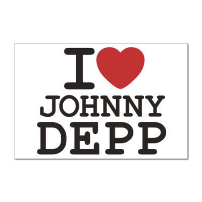 Наклейка (стикер)  I love Johnny Depp
